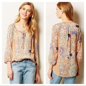 Meadow Rue Roselle Crochet Overlay Blouse Sz S Top
